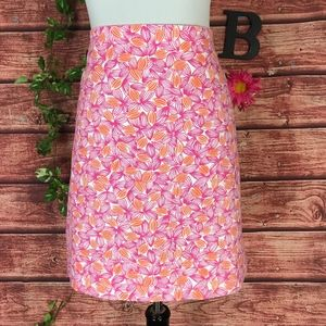 Talbots Skirt 12 Purple Orange Floral Tropical
